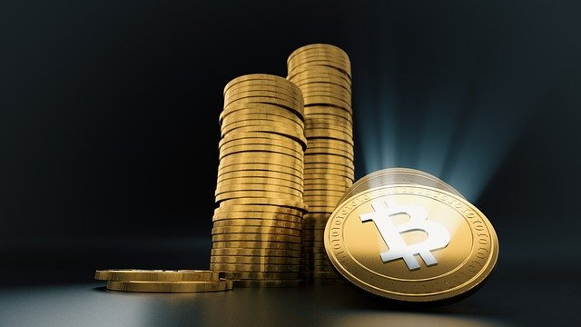 bitcoins stacked up in cryptocurrency trading